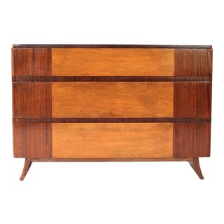 1940s RWay 3 Drawer Mahogany and Birdseye Maple Dresser For Sale