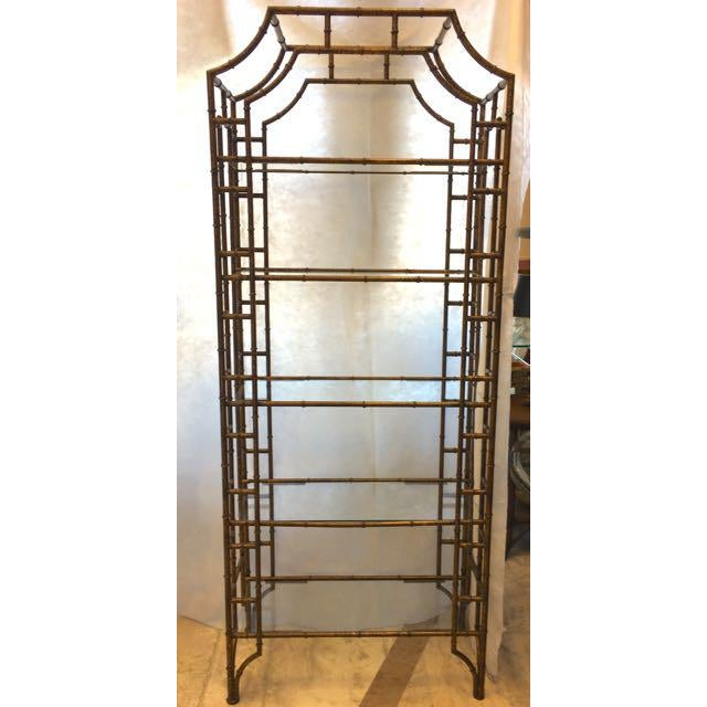 Mid Century Modern/ Palm Beach Regency open display case. Faux bamboo fashioned from steel tubing with lengths of wire...