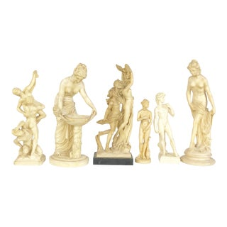 Grouping of Mid Century Classical Italian Roman Nude Sculpture Figurines - Set of 6 For Sale