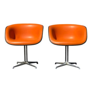 Pair of Tangerine Orange Eames La Fonda Chairs For Sale