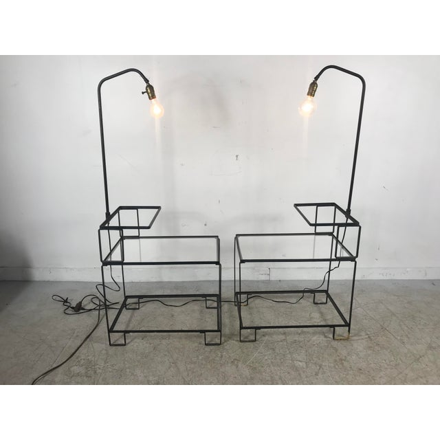 Mid-Century Modern Mid-Century Wrought Iron Table & Lamp Combo in the Style of Weinberg, McCobb For Sale - Image 3 of 13