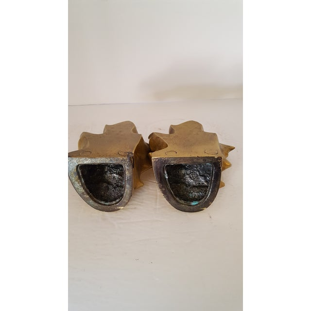 Art Deco Brass Maple Leave Bookends - a Pair For Sale - Image 3 of 5