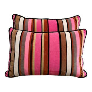 Italian Handmade Velvet Designer Guild Pillows - a Pair For Sale