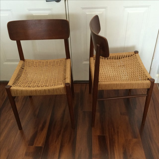 Vintage Danish Modern Rope Seat Chairs - A Pair - Image 6 of 6