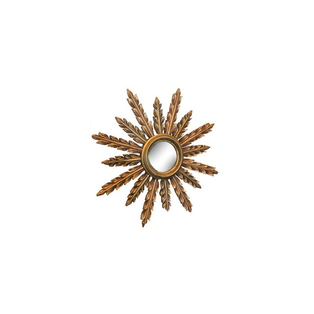 Wood Large French Mid Century Gilt Starburst Mirror For Sale - Image 7 of 7