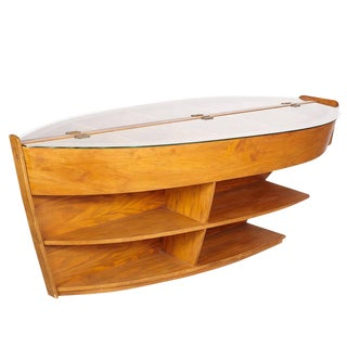 Wooden Library Storage Case Boat Table For Sale