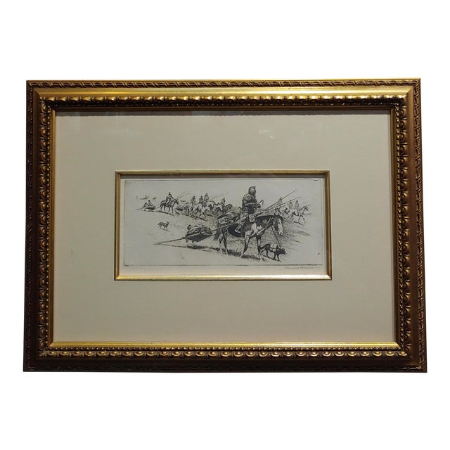 Edward Borein -Blackfoot Indian Moving Camp-1920s Original Etching For Sale