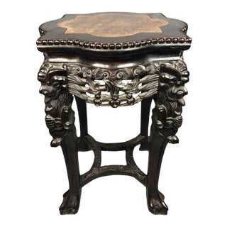 Antique Chinese Export Marble Top Intricately Carved Rosewood Table/ Stand 24 Inches