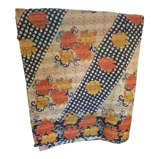 Boho Vintage Indian Quilt Throw Coverlet For Sale