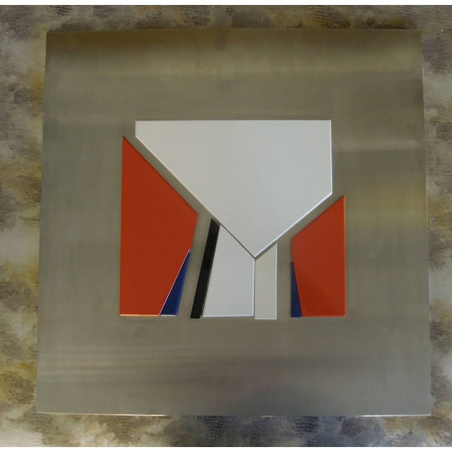 1970s Rare 1971 Jean Baier Metal and Wood Abstract, Geneva Gallerie For Sale - Image 5 of 6