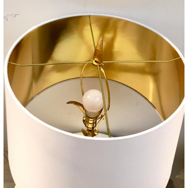 Modern Arteriors Modern White an Gold Buck Table Lamp For Sale - Image 3 of 4