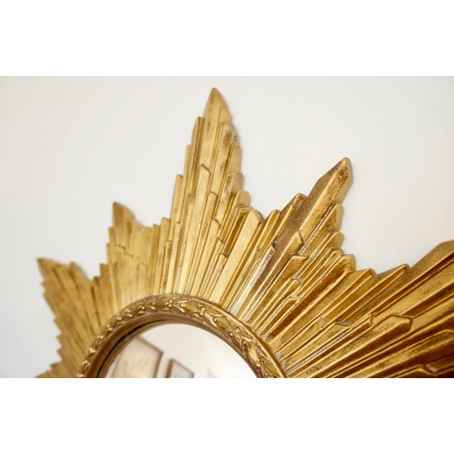 Mid-Century Modern Vintage Gold Resin Frame Sunburst Convex Mirror For Sale - Image 3 of 8