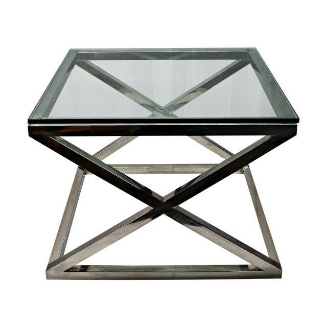 Stainless Steel & Glass Top Square Crossing Table - Image 1 of 8