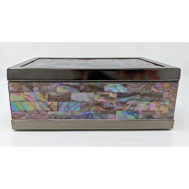 Abalone Jonathan Adler Inspired Polish Gun Metal & Abalone Shell Box For Sale - Image 7 of 12