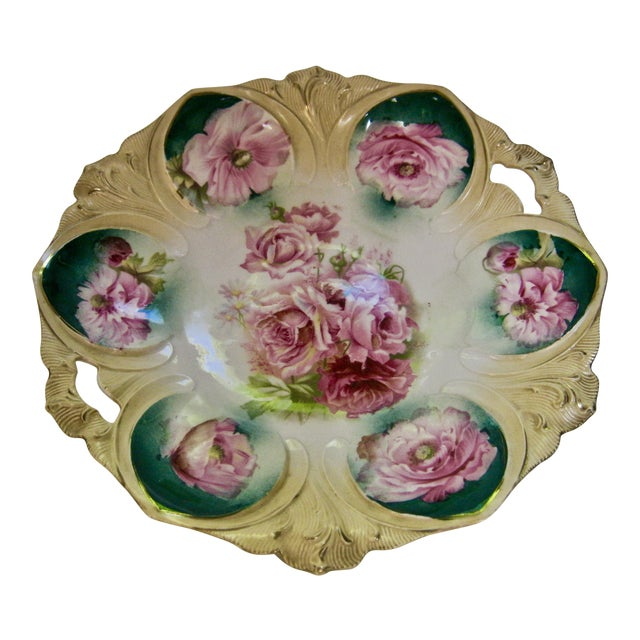 1890s RS Prussia Hand Painted Rose Cake Dish For Sale