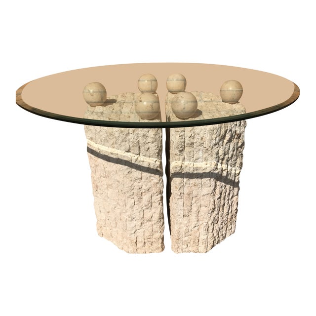 Coquina & Stone Glass Top Dining Table For Sale