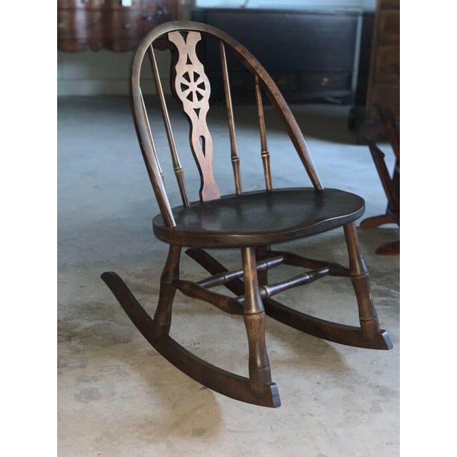 "Sweet antique Windsor style child's rocking chair Well made piece of furniture. Solid & sturdy. Dims: 28.5""h overall..."