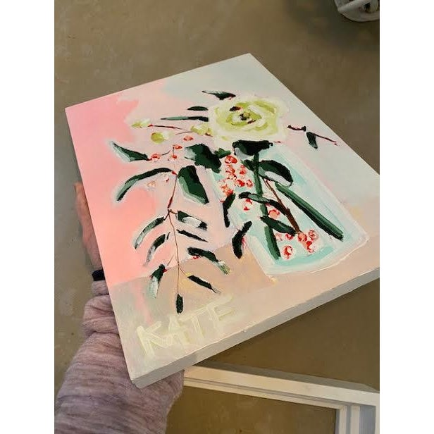 Abstract Original Floral Still Life Painting by Kate Waddell For Sale - Image 3 of 4