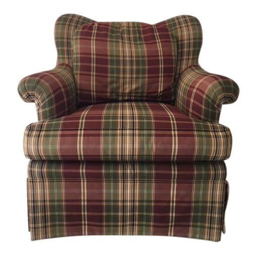 Sherrill Plaid Accent Chair For Sale