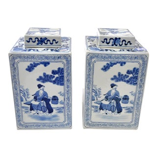 Blue and White Scenic Jars, Pair For Sale
