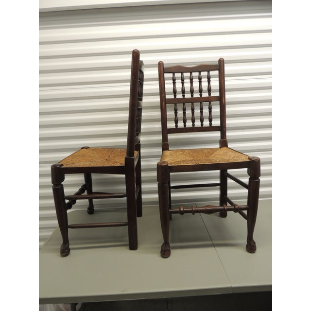 Country Pair of Antique English Country Harlequin Wood Chairs with Rush Seats For Sale - Image 3 of 6