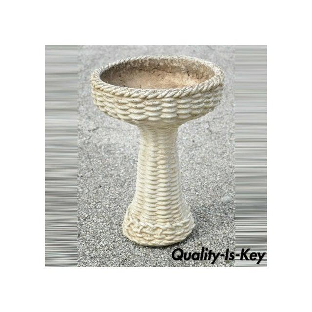Vintage Mid 20th Century Cement Concrete Basketweave Small Garden Birdbath For Sale - Image 12 of 12