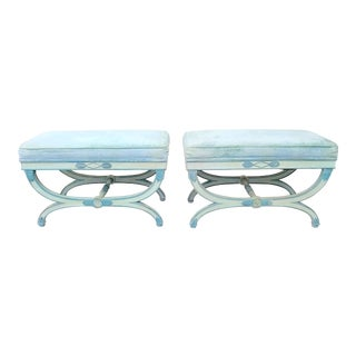 Hollywood Regency Louis XVI Style Ottomans- Pair