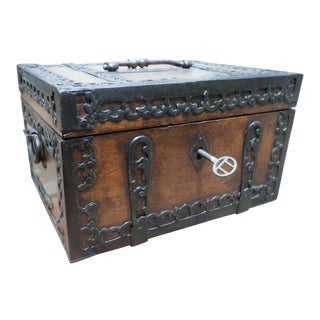 Spanish Walnut Ironclad Document Box, 18th Century For Sale