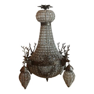 Charcoal Bronze Stag Empire Deer Chandelier For Sale