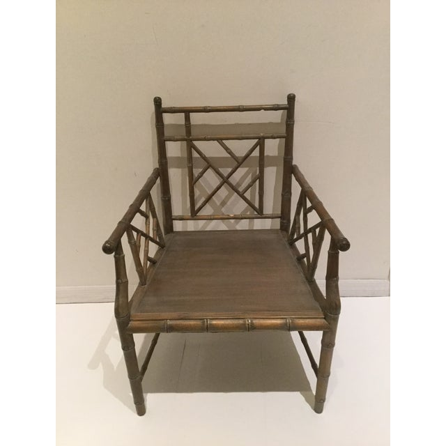 1970s Vintage Faux Bamboo Chippendale Side Chair For Sale - Image 12 of 13