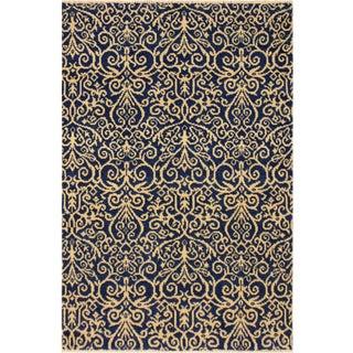 Cryena Modern Keila Blue/Ivory Wool Rug - 3'11 X 6'2 For Sale