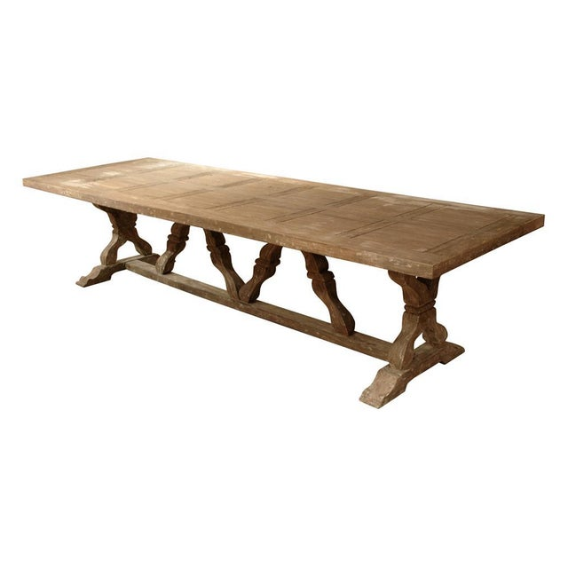 Farmhouse French Country Farmhouse Trestle Dining Table For Sale - Image 3 of 3