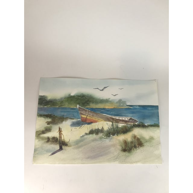 Original Unframed Watercolor Lake Front Scene Painting For Sale - Image 4 of 4