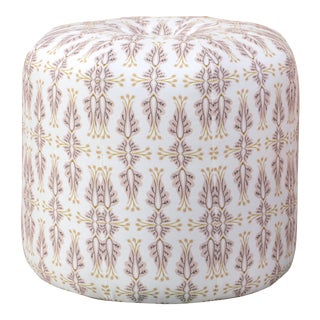 Seamed Ottoman in Chan Damask Blush Oga For Sale