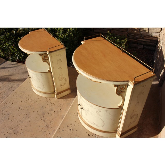 1950s Karges Painted Demilune Nightstand - Pair For Sale - Image 5 of 11