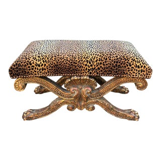 Large Regency Style Gilt-Wood Bench With Clarence House Cheetah For Sale