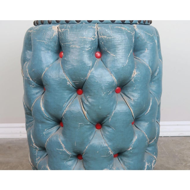 Blue Tufted Stool/Container W/ Red Tufts For Sale In Los Angeles - Image 6 of 8
