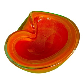 1960's Orange Murano Glass Dish For Sale