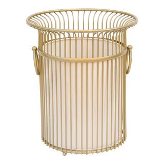 Gold Wastebasket W/ Cream Liner - a Pair For Sale