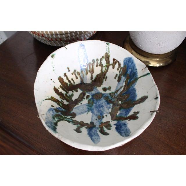 Antique White Vintage Handmade Hand Glazed Studio Art Black Clay Pottery Bowl For Sale - Image 8 of 8