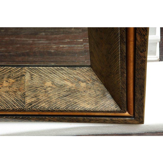 Venfield Enormous Coco Fiber Mirror with Orange Goatskin Insert For Sale - Image 4 of 7