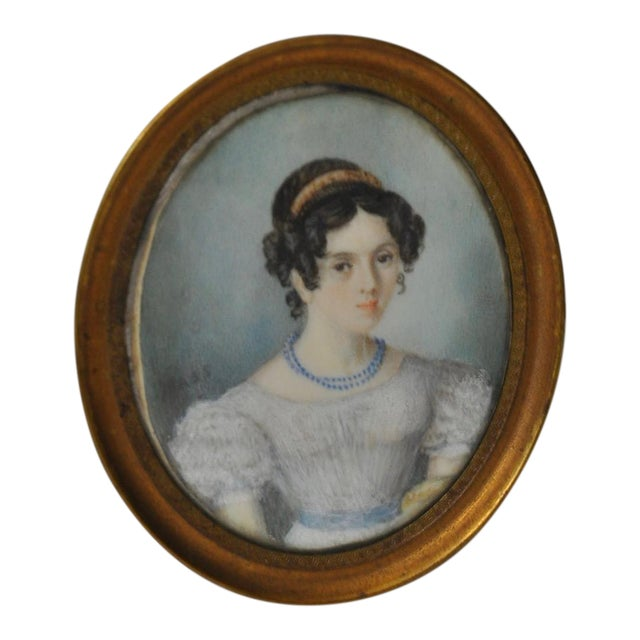 Fine Miniature Portrait of a Young Lady W/ Corkscrew Curls C.1850s For Sale
