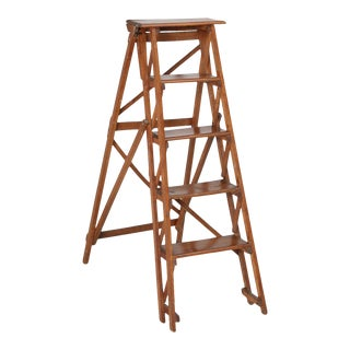 Vintage French Folding Wood Ladder in the Original Finish For Sale