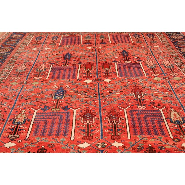 Antique Heriz Persian Rusty Red Background Rug - 9′7″ × 11′7″ For Sale - Image 9 of 11
