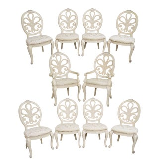 Henredon Visage Collection Painted Rococo Style Dining Chairs - Set of 10
