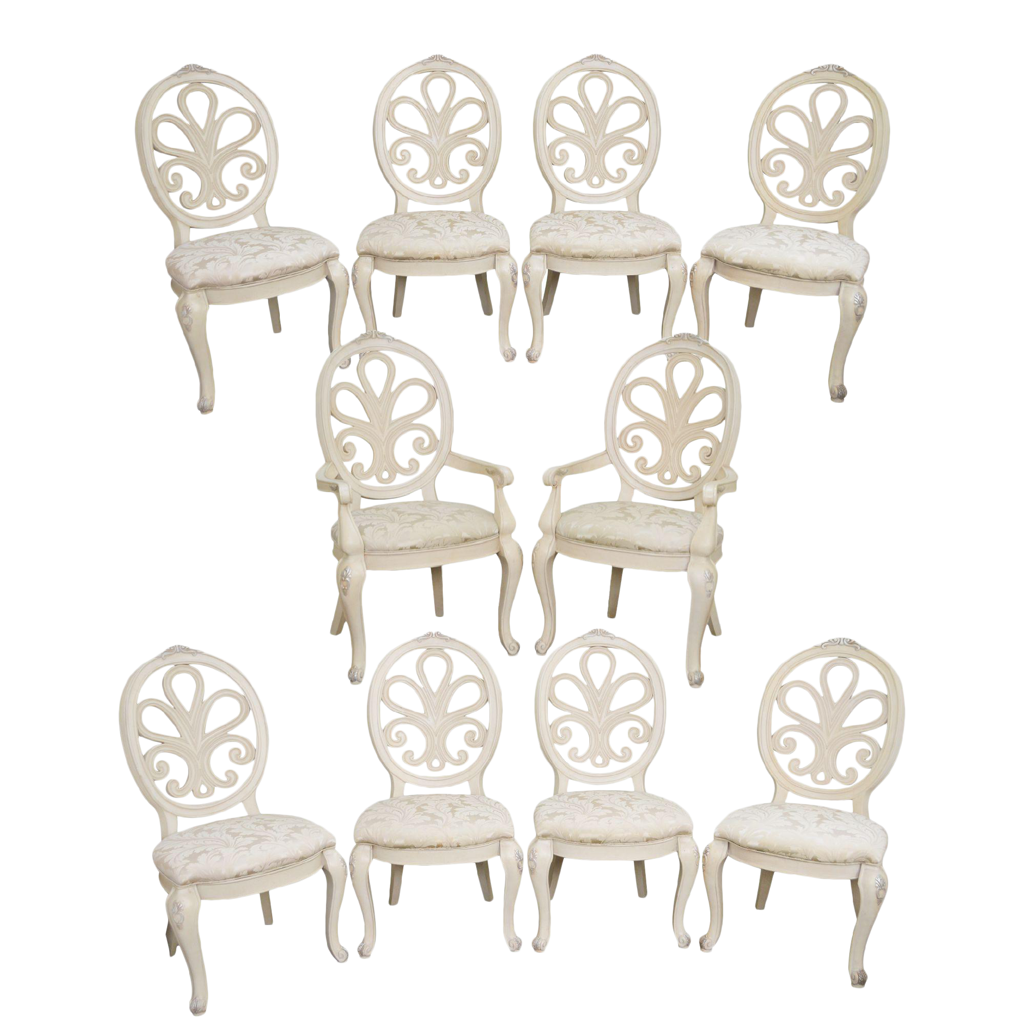 Henredon Visage Collection Painted Rococo Style Dining Chairs   Set Of 10