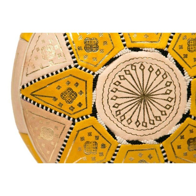 Yellow Marrakech Leather Pouf - Image 2 of 3