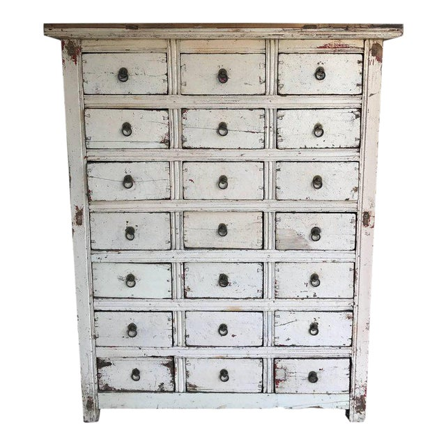 Primitive 21-Drawer Distress Painted Cabinet - Image 1 of 5