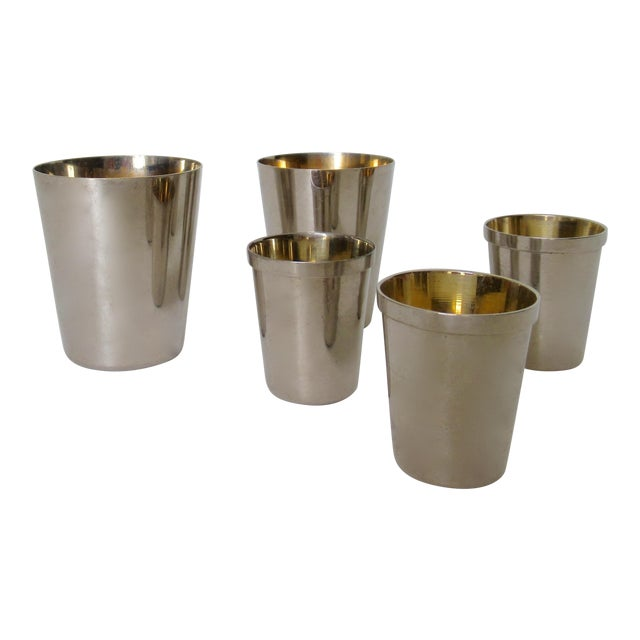 Vintage German Gentleman's Silver Plate & Gold Lined Traveling Cordial Cups - 5 Pieces For Sale