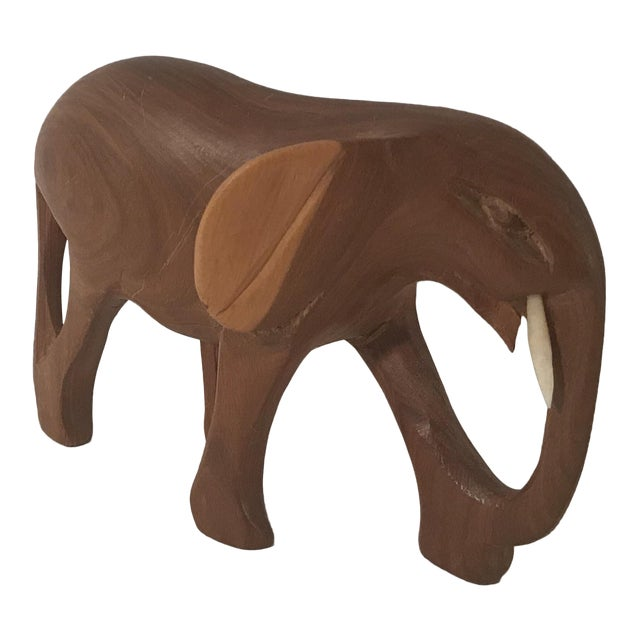 Vintage Wooden Carved Elephant For Sale